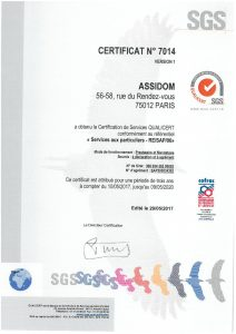 Certification QUALICERT d'Assidom
