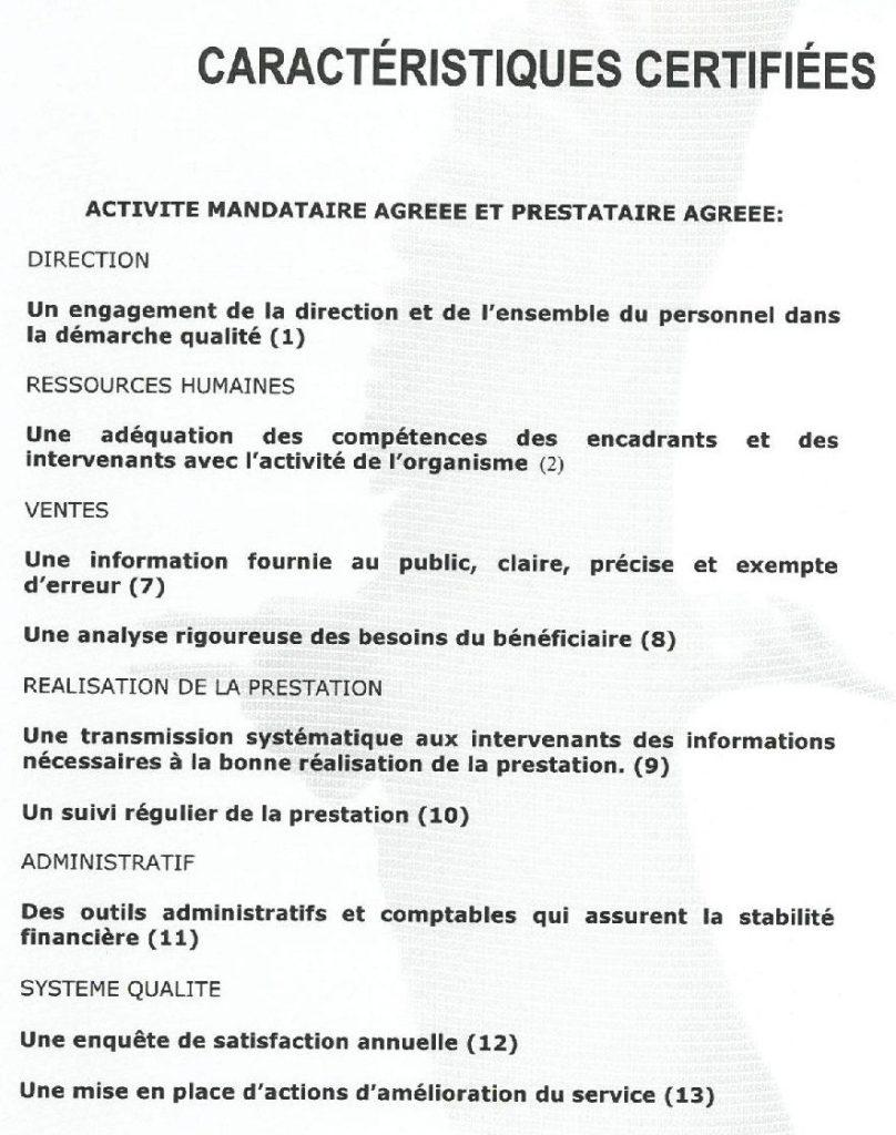 Caractéristiques certifiées d'Assidom par SGS Qualicert